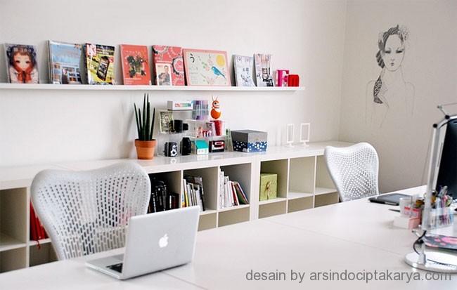 desain kantor cat putih
