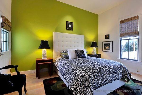 ruang tidur hijau tropis minimalis