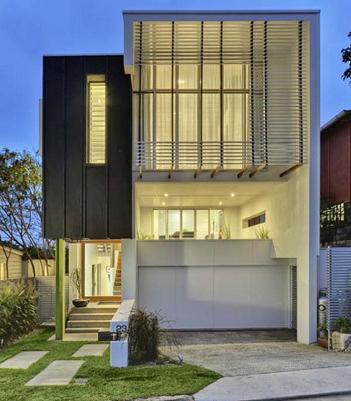desain tampak depan rumah minimalis dengan permainan ornamen