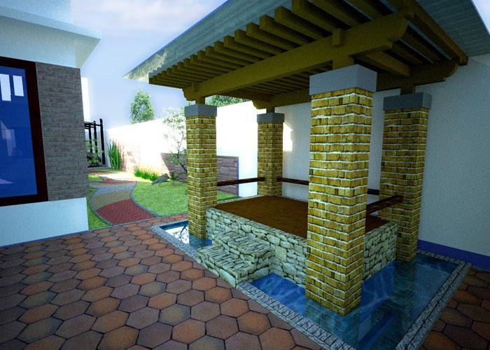 kolam dengan gazebo dalam rumah